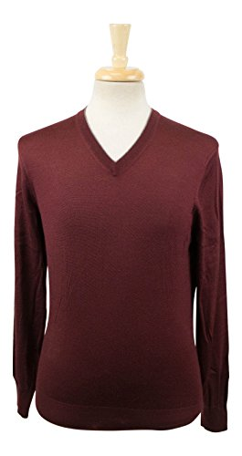 Brunello Cucinelli Men's Red Cashmere BLend V-Kneck Sweater Size 48/38 Short by Brunello Cucinelli