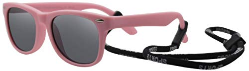 Matte Baby - Coolsome Rubber Flexible Kids Polarized Sunglasses For Boys Girls Children With Strap Age 3-10 Years Old (Matte Pink)