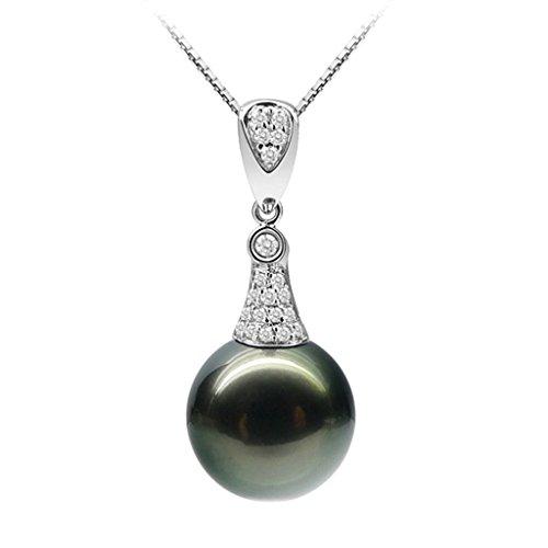 AMDXD Jewelry Argent Sterling 925 Femmes Pendentif Collier Poirel Noir Poirel CZ 925 Chaîne comme Cadeau D'anniversaire