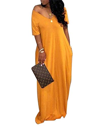 Yootiko Women Sexy Off The Shoulder V Neck Maxi Dress Short Sleeve Long Loose Swing Dress with Pockets Yellow XXL