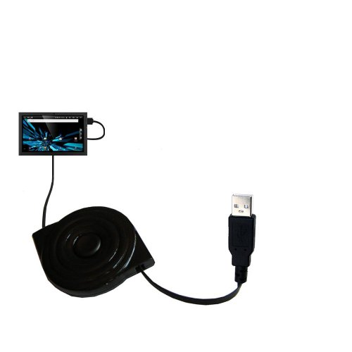 Gomadic compact and retractable USB Charge cable for Elonex 1040ET eTouch Blade Wi-Fi - USB Power Port Ready design and uses TipExchange