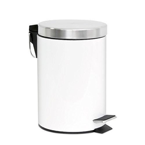 amazon bremermann ® poubelle à pédale, poubelle, avec système d'abaissement automatique, 3 l, blanc, 6808 pas cher prix