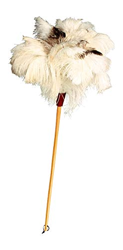 REDECKER Ostrich Feather Duster with Varnished Wooden Handle, 31-1/2-Inches, Light