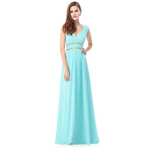 Vestido Us20 Novia Tamaño Hecho Cielo A En Mano Noche De Azul Banquete Moldeado Fengbingl V Con Hombros Cuello color dUSFdw
