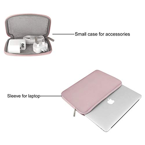 MOSISO Laptop Sleeve Only Compatible with MacBook 12 inch A1534 with Retina Display 2017/2016/2015 Release, Water Repellent Neoprene Bag with Small Case, Baby Pink
