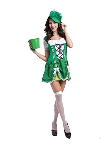 Oktoberfest New Women Bartenders Serving beer Costume Masquerade party Wear (XL)