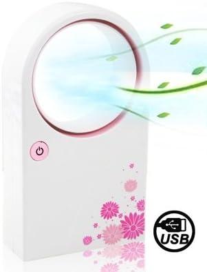HHM ハンドヘルドミニUSB丸型電気ブレードレスエアコン(ピンク) (色 : ピンク)
