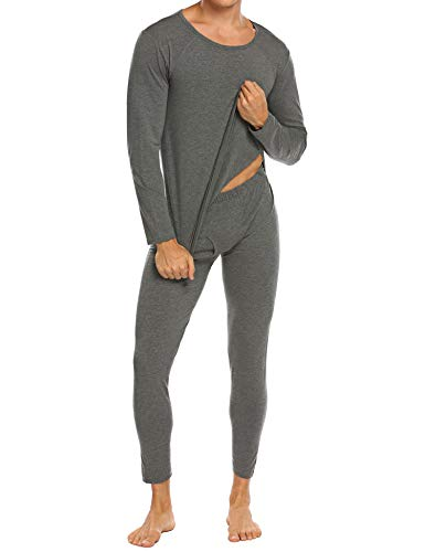Ekouaer Wicking Thermal Underwear Mens 2 Piece Long Johns & Top Pajama Set,Modal Lightweight-gray,Large