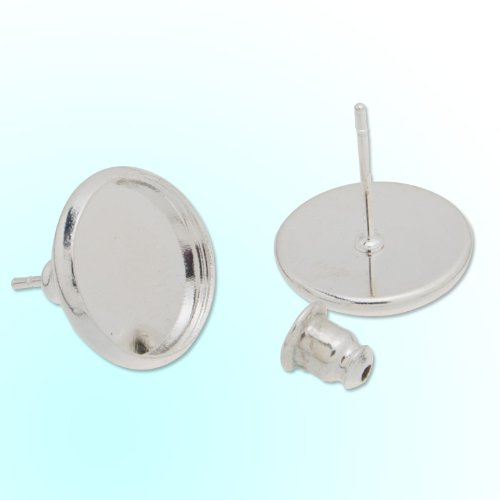 Fashion Silver Plated Stud Earrings Blank-fit for 12mm Cabochon- 50pcs ()