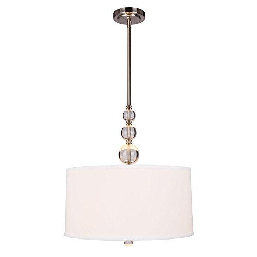 Hampton Bay Laurel Hill 3-Light Brushed Nickel Pendant with Opal Glass Shades and Glass Ball Accents