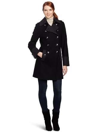 Nautica Women's Military Coat, Black/Charcoal, Small