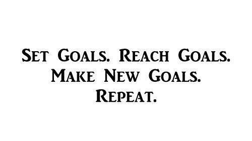 CMI427 Set Goals. Reach Goals. Make New Goals. Repeat. | Motivational Decal | Inspirational Decal | Premium Black Vinyl Decal | 12.6