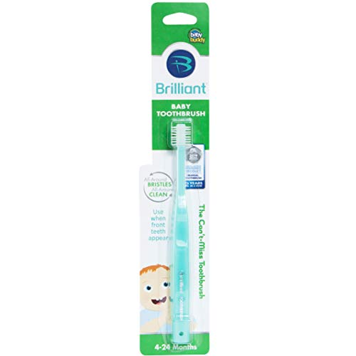 Brilliant Baby Toothbrush by Baby Buddy - for Ages 4-24 Months, BPA Free Super-Fine Micro Bristles Clean All-Around Mouth, Kids Love Them, Mint, 1 Count