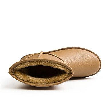 Deutsches Elektronen-Synchrotron Damen Schuhe PU Winter Schnee Stiefel Fashion Boots Stiefel Flach Absatz für Outdoor Khaki Braun Schwarz braun
