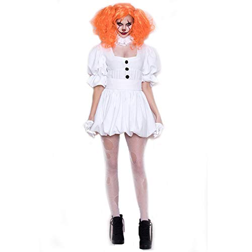 YRE Clown Costume Adult cos Costume, White Maid Dress with Wig, Vampire Ghost Bride, Halloween Ghost Doll,XL
