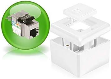 Dexlan – Caja para Pared (Superficie, Cat5e 2 RJ45 apantallado: Amazon.es: Informática