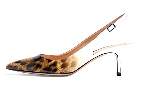 Stiletto Ankle Slingback Toe 6 Leather Patent Evening Eldof Strap Shoes Brown Kitten Women's 5cm Pointed Pumps Heels Leopar AxXYA7q