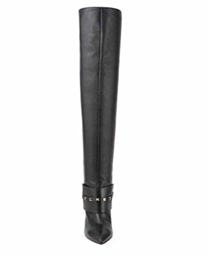 Valentino Rockstud Low-Heel Over-The-Knee Boot, Black, Sz 38