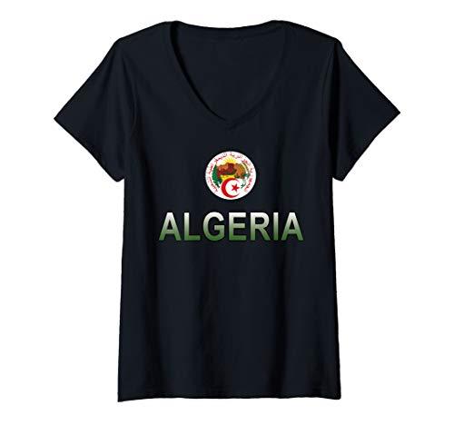 Womens Sports-style National Emblem of Algeria V-Neck T-Shirt