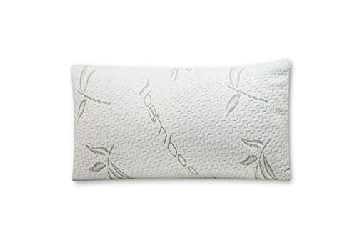 Mutlu Home Goods Cool Bamboo Pillow in Queen (Standard) Size with Shredded Memory Foam Helps with Stiff Neck, Never Goes Flat. Hypoallergenic Removable Washable White Cover Resists Dust Mites (Cool Bamboo)