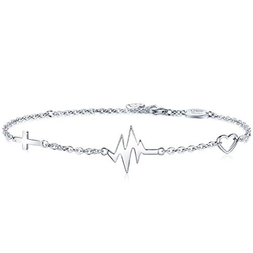 AmorAime Silver Cross Bracelet for Women-925 Sterling Silver