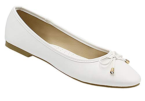 Womens Casual Comfortable Chic Canvas Flat Ankle Strap Shoe Ballet Flat White Flats Faux Leather with Bow 10 M US