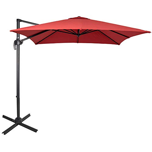 Sundale Outdoor 8.2ft Square Offset Hanging Umbrella Market Patio Umbrella Aluminum Cantilever Pole with Crank Lift, Corss Frame, Polyester Canopy, 360°Rotation, for Garden, Deck, Backyard (Brick Red) (Is An Offset What Umbrella)