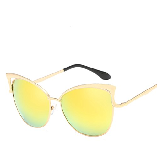 Men's Mirror UV400 Sunglasses frame des yellow Protection de Gold Women's Zhhaijq lunettes soleil xSFqOp