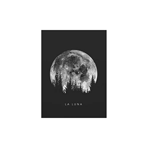 Minimalist Full Moon Poster Art Black White Moon