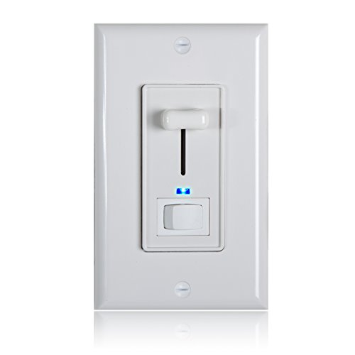 Maxxima 3-Way / Single Pole Dimmer Electrical Light Switch With Blue Indicator Light 600 Watt max, LED Compatible, Wall Plate Included Wall Dimmer