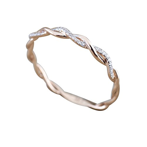 (FEDULK Womens Rings Twisted Shape Diamond Engagement Stacking Matching Band Couple Lover Anniversary Ring(Rose Gold,)
