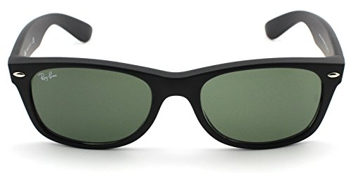 4dc97c2906e Galleon - Ray-Ban RB2132 New Wayfarer Unisex Sunglasses (Black Rubber Frame Crystal  Green Lens 622