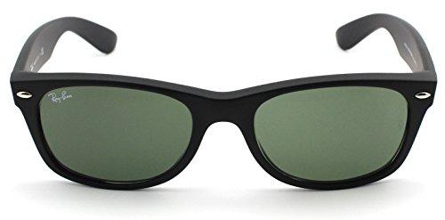 Ray-Ban RB2132 New Wayfarer Unisex Sunglasses (Black Rubber Frame/Crystal Green Lens 622, - 622 New Polarized Rb2132 Wayfarer
