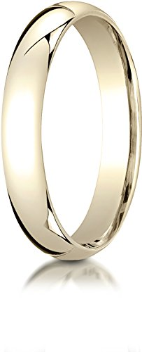 Benchmark 14K Yellow Gold 4mm Slightly Domed Super Light Comfort-Fit Wedding Band Ring, Size 5.5