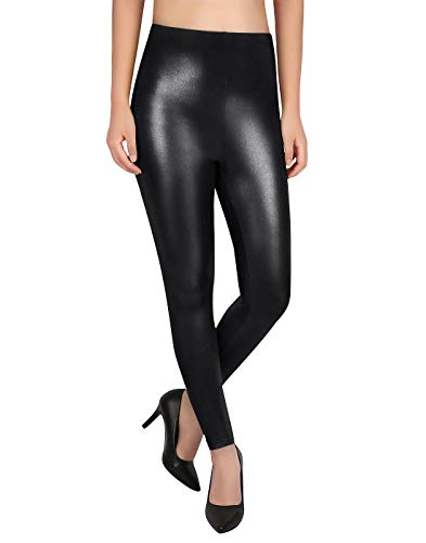 Costume Sexy Metallic Shiny (Women's Black Shiny Leggings Size Medium Sparkle Glitter Tight Pants Bling)