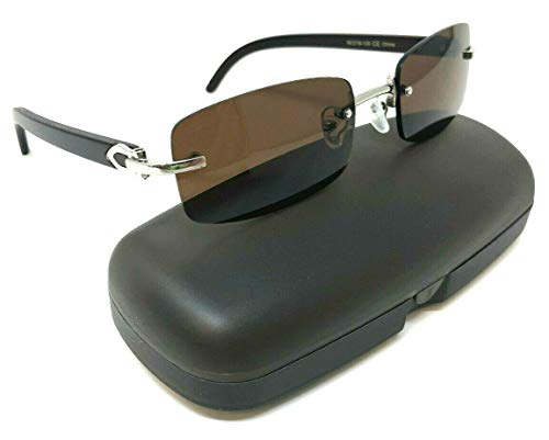 (Dean Slim Rimless Rectangular Metal & Wood Aviator Sunglasses (Silver & Dark Brown Wood w/Case, Brown))
