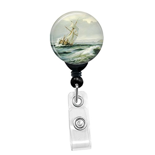 Anton Melbye - Seascape With Sailing Ship In Rough Waters - Retractable Badge Reel - ID Name Tag Custom Badge Holder (Black Badge Reel with Spring Pinch Clip)