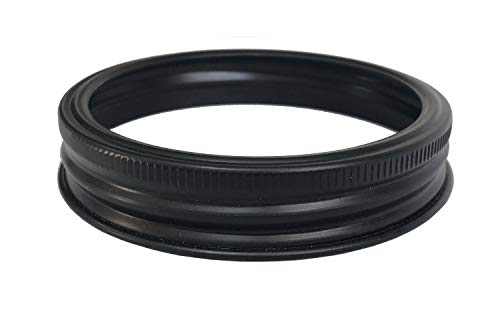 Matt Black Aluminum Rust Resistant Metal Rings/Bands for Mason, Ball, Canning Jars (10 Pack, Wide Mouth)