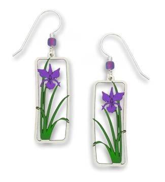 - Sienna Sky Purple Iris in Rectangular Frame Earrings 1325-1