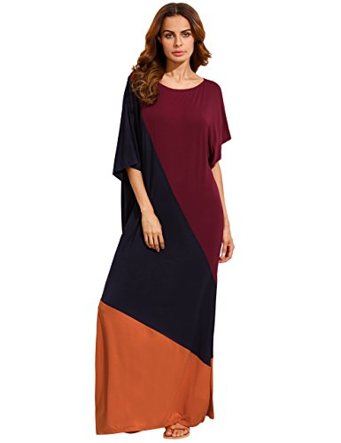Verdusa Women's Summer Color Block Side Split Loose Maxi Long Dress Multicolor S