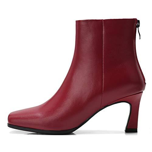 rouge HommesGLTX Talon Aiguille Talons Hauts Sandales Marque De Base Bottines Bottes Femmes Doux en Cuir Véritable Chaussures De Les Les dames Femme Toe Carré Bureau Pompes Nouvelle Femme Parti Chaussures