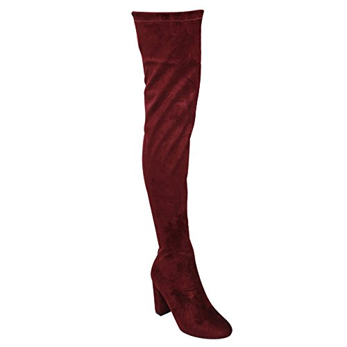 Beston DE01 Womens Block Heel Drawstring Over The Knee Thigh High Stretchy Boot Wine isXj9uboj