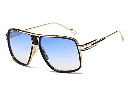 Alloy Frame Sunglasses - Gobiger Aviator Sunglasses for Men 100% UV Protection Goggle Alloy Frame (Gold Frame, Gradients Blue)
