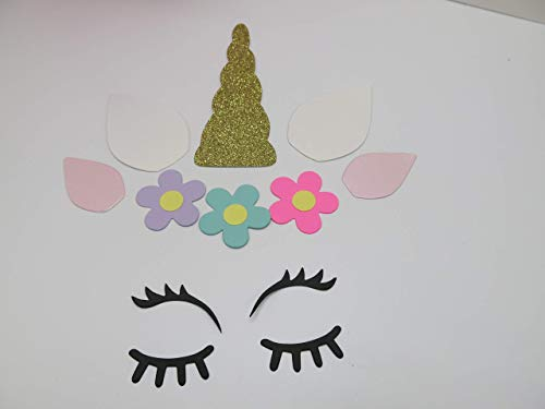 10 Sets Unicorn Shapes, Package Topper, Bow Alternative, Gold Glitter Horn, Unicorn Face/Head, Gift Bag