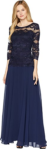 Sangria Women's Illusion Lace Bodice Gown, Navy, (Illusion Bodice)