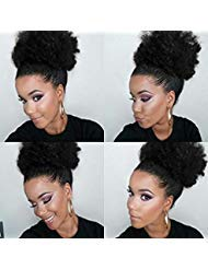 Drawstring Synthetic (Synthetic Hair Ponytail African American Short Afro Kinky Curly Wrap Synthetic Drawstring Puff Ponytail Hair Extensions Wig with 2 Clips(#1B))