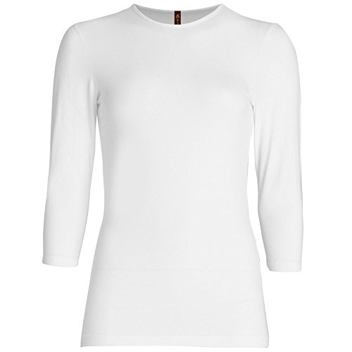 Esteez Womens 3/4 Sleeve Fitted Relaxed Fit Base Layering T-shirt EX801136 White XX-Large RELAXED FIT