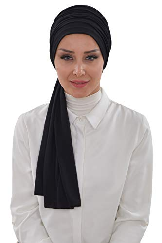 Jersey Shawl for Women Cotton Modesty Turban Cap Wrap Instant Scarf Black