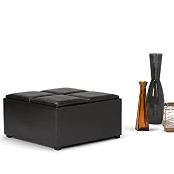 Simpli Home Avalon Coffee Table Storage Ottoman w/ 4 Serving Trays, PU Leather, Brown