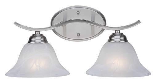 Trans Globe CB-2826 BN Bel-Air Contemporary Bath Bar Light, Brushed Nickel Housing, Marbleized Glass Shade, 2 Lamps, 100 W Medium